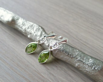 Sterling Silver Peridot Earrings, Simple Stone Studs, August Birthstone, Peridot Dangle, Gemstone Earrings, Statement Earrings