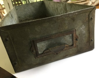 Vintage metal galvanized file drawer box container