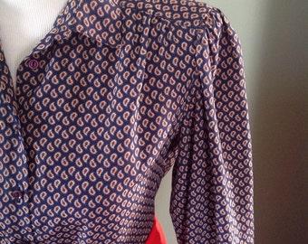 Navy blue paisley blouse, Vintage, Excellent condition