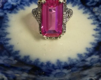 Estate 8ct Pink Ruby Sapphire Princess Ring Sterling 925 Silver Ring Stunning Anniversary Filigree
