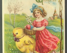 """Antique Victorian Embossed Postcard """"Best Easter Wishes"""" Little Girl Walking with Giant Chick and Egg Basket Printed in Germany ca. 1913"""