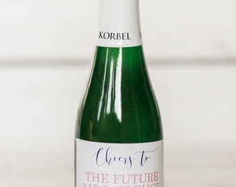 Bridal Shower Mini Champagne Labels - Cheers to the Future Mrs. - Bride to Be- Bachelorette