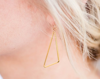 Gold Isosceles Triangle Dangle Earring