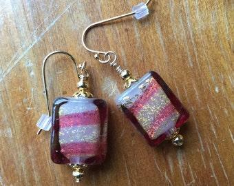 Venetian Glass Earrings in Raspberry and White Stripe