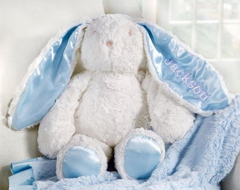 Monogrammed Blue Minky Bunny