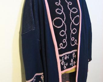 Vintage tunic sweater set twin set 2 piece set. Navy blue, pastel pink, white. Perfectly Preppy 1970s Plus Size 2X