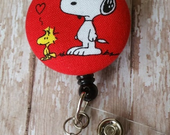 Cute Snoopy Fabric Button Retractable Badge Reel Holder - Choose With or Without Dangle Beads (see pics) - Flat Rate Shipping!  New Item