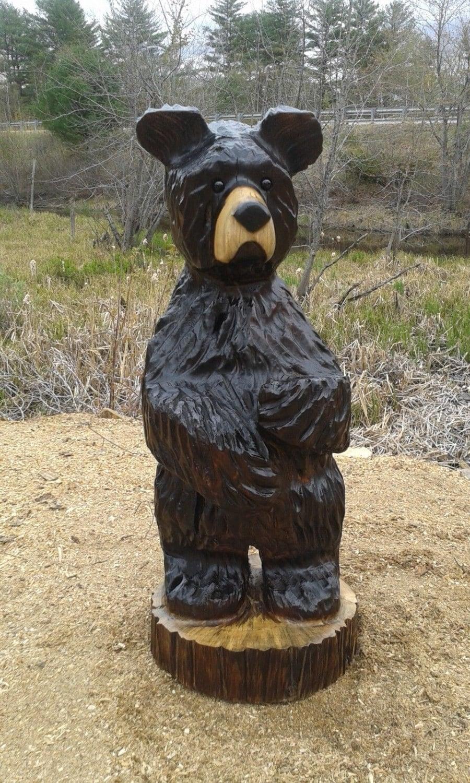 Black bear cub wood carving chainsaw rustic art