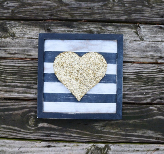 Gold Glitter Heart and Black and White Striped Wood Sign - Valentines Decor   Valentine's Heart Sign