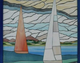 Stained Glass Mosaic Landscape With Sailboats