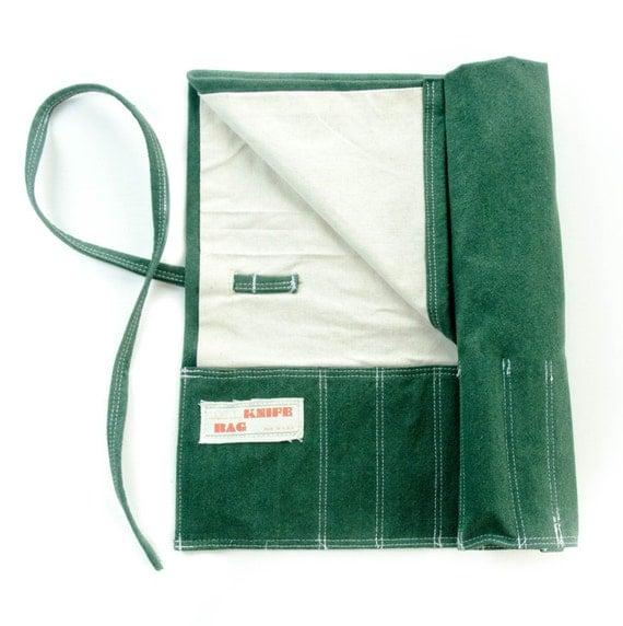 knife bag hemp canvasgreen white chef knife roll washable. Black Bedroom Furniture Sets. Home Design Ideas