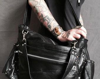 Black Leather Studded Diaper Bag Tote Large Messenger