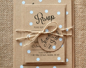 Pastel Blue Polka Dot Wedding Invite Set - Rustic Kraft