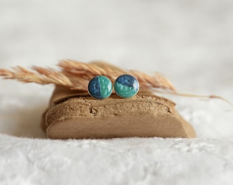 Tiny blue stud earrings, little two tone blue ear studs, 6 mm hand painted earring, gift wrapped jewelry, little gift for her