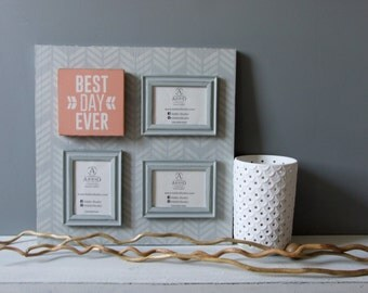 3 4 photo frame collage w magnetic frames and plaque wood gray chevron w best day ever quote wedding new baby shower picture frame