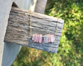 Raw Pink Tourmaline Crystal Bar Necklace in 14K Gold Fill - 16 or 18 inches
