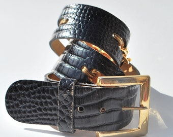Vintage Anne Klein for Calderon Black Leather Textured Belt with Gold Chains Small
