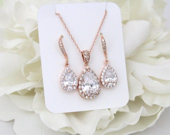 Rose Gold Bridal set, Bridesmaids jewelry set, Rose gold earrings, Wedding jewelry, Crystal earrings, Teardrop necklace, Necklace set