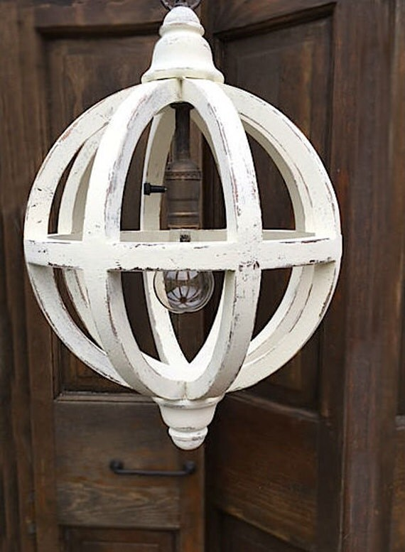 Distressed White Orb Pendant Shabby Chic Light French Country