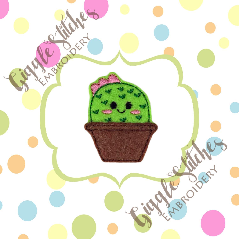 Floral cactus feltie embroidery design