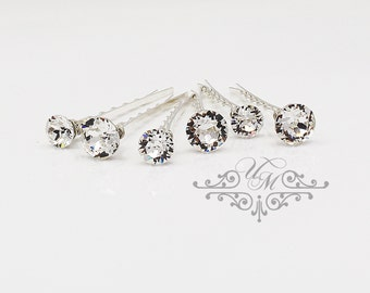 Set of 6 Swarovski Crystal hair pins Wedding Hair pins Wedding hair Accessories Bridal Bridesmaids hair pins Swarovski crystal bobby pins
