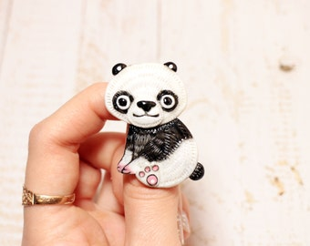 Jewelry Pin Animal Art Cute Jewelry Pin Panda Art Cute Brooch Pin Clay Brooch Art Small Gift The Girl Cute Pin Animal Panda Jewelry