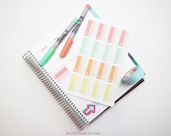 Ombre Heart Checklist Half Weekly Box Sticker Sheet : Sherbert Theme Planner Stickers