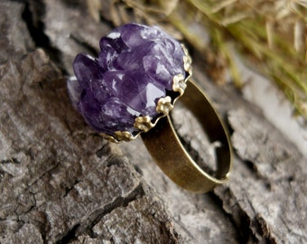 Gemstone ring Amethyst ring Statement ring Birthstone jewelry Natural stone ring Bohemian ring Purple ring Gift for her mom Amethyst jewelry