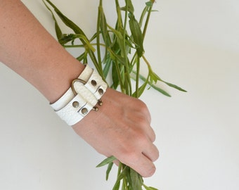 White Leather Cuff  Bracelet - White Bracelet - White Leather Bracelet - Wide Bracelet