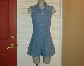Vintage Blue Chambray Denim Onesie Sleeveless Jumper ROMPER Shorts~M~