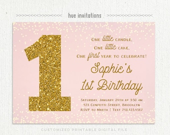 first birthday invitation pink and gold, 1st birthday girl printable invitations, blush pink gold glitter one chic customized invitation