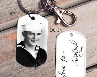 Custom Handwriting Keychain - Handwriting Keychain - Memorial Keychain - Signature Jewelry - Signature Keychain- custom photo keychain