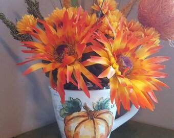 Fall Floral in Mug, Autumn  Arrangement, Small Fall  Arrangement, Pumpkin Floral, Thanksgiving Flowers, Thanksgiving Floral, Pumpkin  Flower