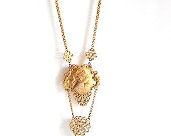 Vintage Cherub Cameo Ornate Gold Tone Necklace