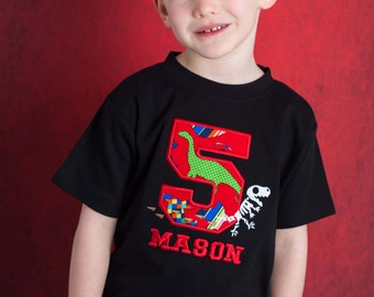 Boy's Prehistoric T-Rex Dinosaur Birthday Shirt with Number and Name