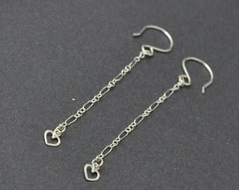 Silver Hear Earrings, Long Dangle Earrings, Long Chain Earrings, Lightweight Earrings, Sterling Silver Dangle