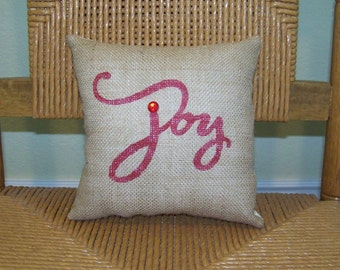Joy pillow, Christmas pillow, Christmas decor, Burlap pillow, stenciled pillow, FREE SHIPPING!