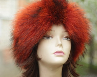 Orange Headband Wide Headband Real Fur Headband Boho Headband Womens Hair Accessories Orange  Headwrap hippie headband boho headwrap hippie