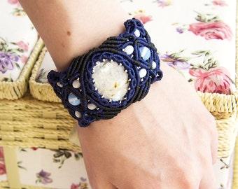 "Macrame bracelet, macrame jewelry, bracelet with Moonstone ""Andromeda Galaxy"", micromacrame bracelet"