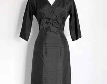 "1950's ""R&K Originals"" Black Cocktail Dress / Free U.S. Shipping"