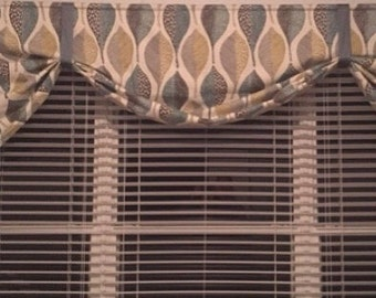 "Tie Up Curtain -  LINED - custom - choose your own fabric and size - 115"" W x 35"" L"