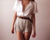 90s White Linen Embroidered Blouse Medium
