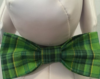 ST. PATRICK'S DAY Shamrock Bow Tie Collar Attachment & Accessory for Dogs and Cats/Green and Yellow Tartan