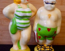 Wax Figure Candle; Sunbathers; Set of Two; Approx. 4 x 7 in. Cute +++