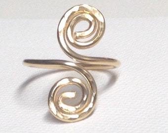 Spiral Ring, Gold fill or Sterling Silver, Hammered Texture, Handmade and Forged by LisaJStudioJeweler.