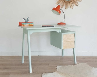 bureau table de travail console bois vintage scandinave. Black Bedroom Furniture Sets. Home Design Ideas