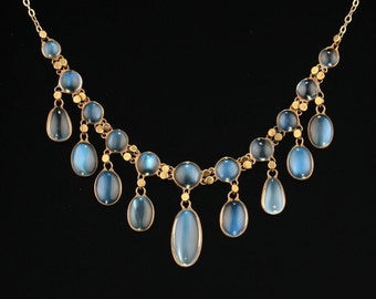 reserved!!! Arts and Crafts 16.21 Ct natural moonstone sophisticated necklace