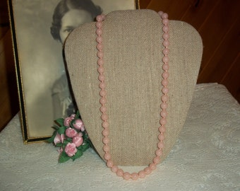 Trifari Pink Lucite Beaded Necklace 24 Inches Pretty in Pink Beaded Vintage Necklace Costume Jewelry