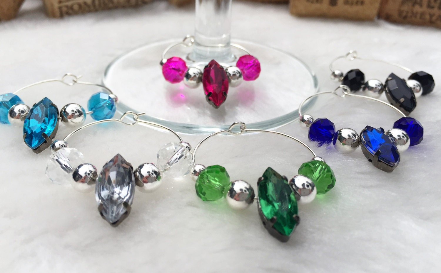 unique wine gift wine glass charm set of 6 by lasmascreations