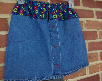 Upcycled JOY-ful Denim Skirt, size 7